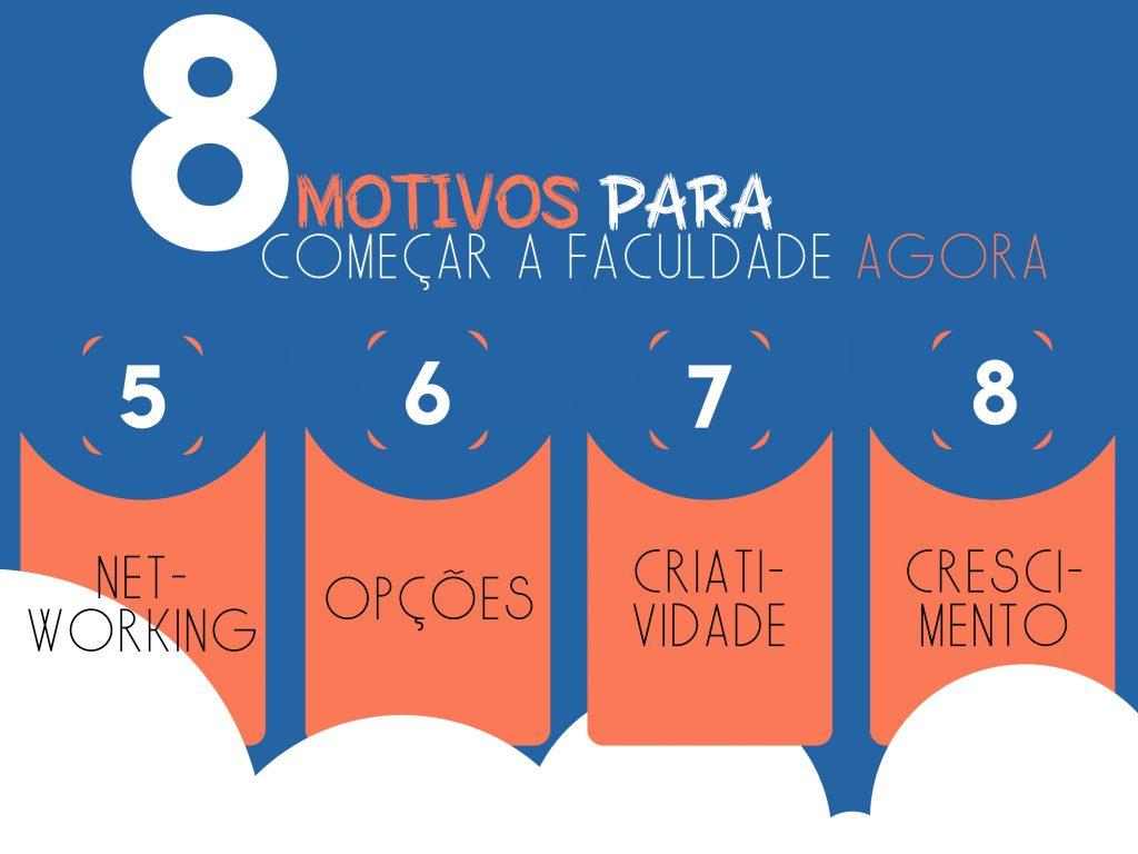 Infográfico nas cores branco, azul e laranja, listando 5 dos 9 motivos para começar um curso de Ensino Superior