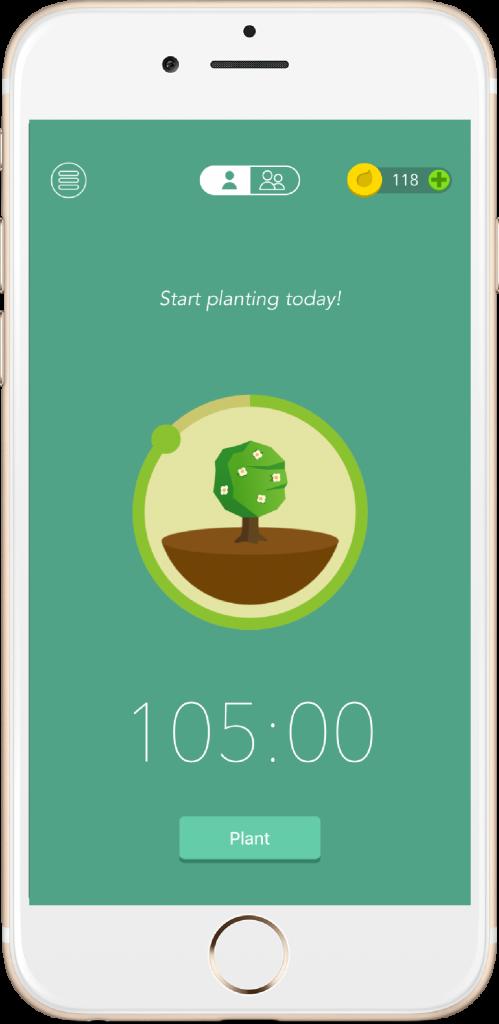 A tela do Forest, aplicativo usado para aumentar a produtividade. Um smartphone com uma árvore sendo planta, com um tempo de duração de 105 minutos.