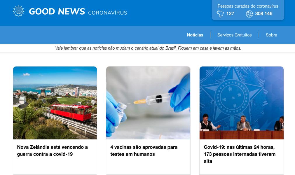 Site se dedica a apresentar apenas boas notícias sobre a COVID-19.