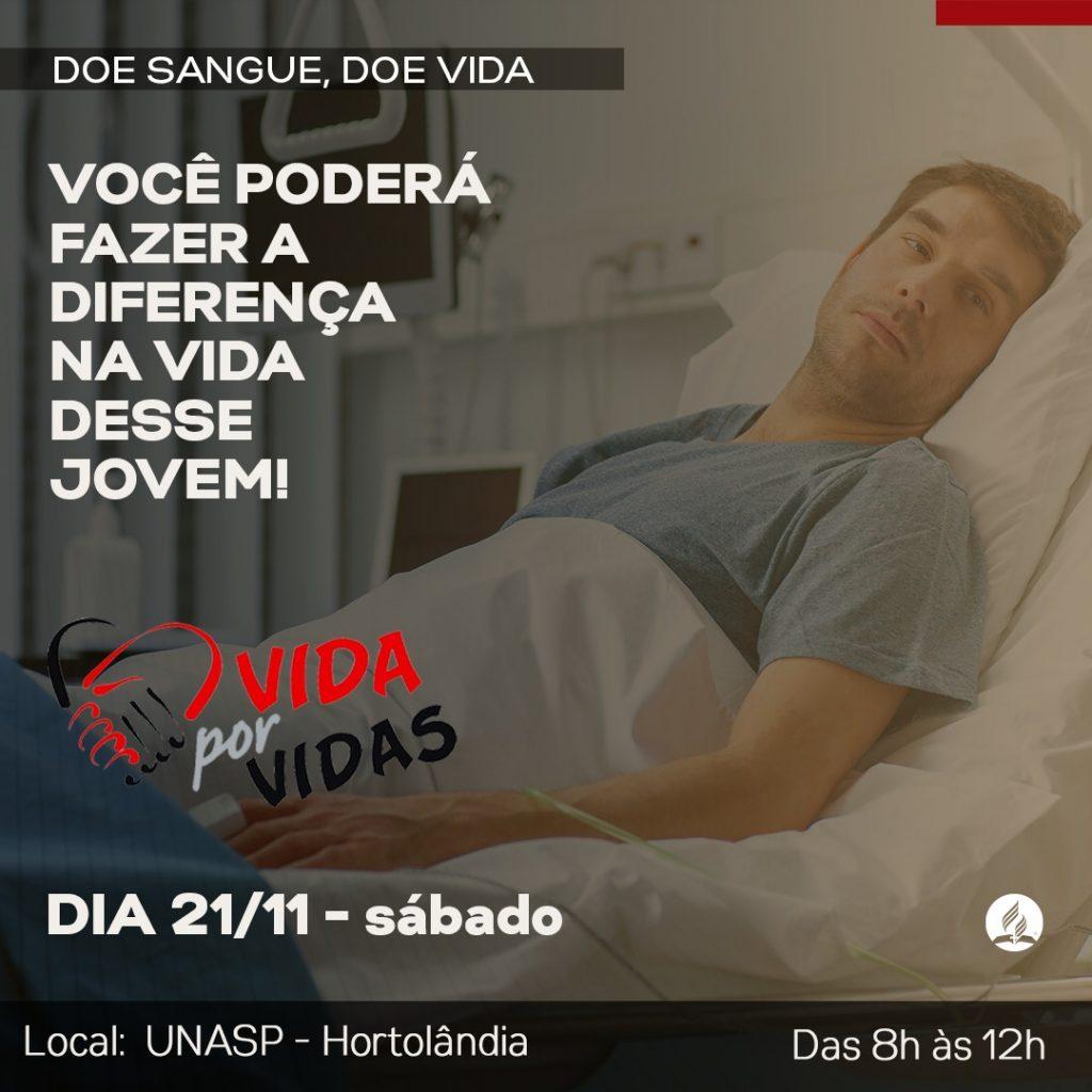 Arte de divulgação da campanha de doação de sangue.