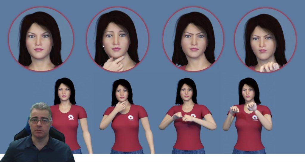 Exemplos de avatares que tem expressões faciais para facilitar a língua de sinais
