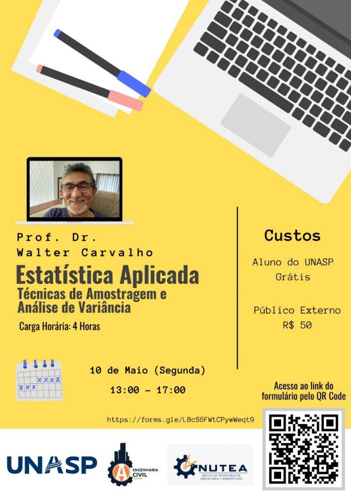 Cartaz sobre oficina de extensão de Estatística Aplicada.