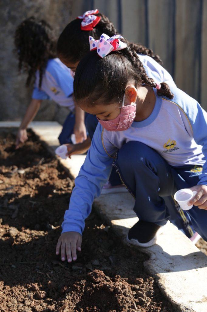 Crianças com sementes em um copinho de café, plantando as sementes na terra.